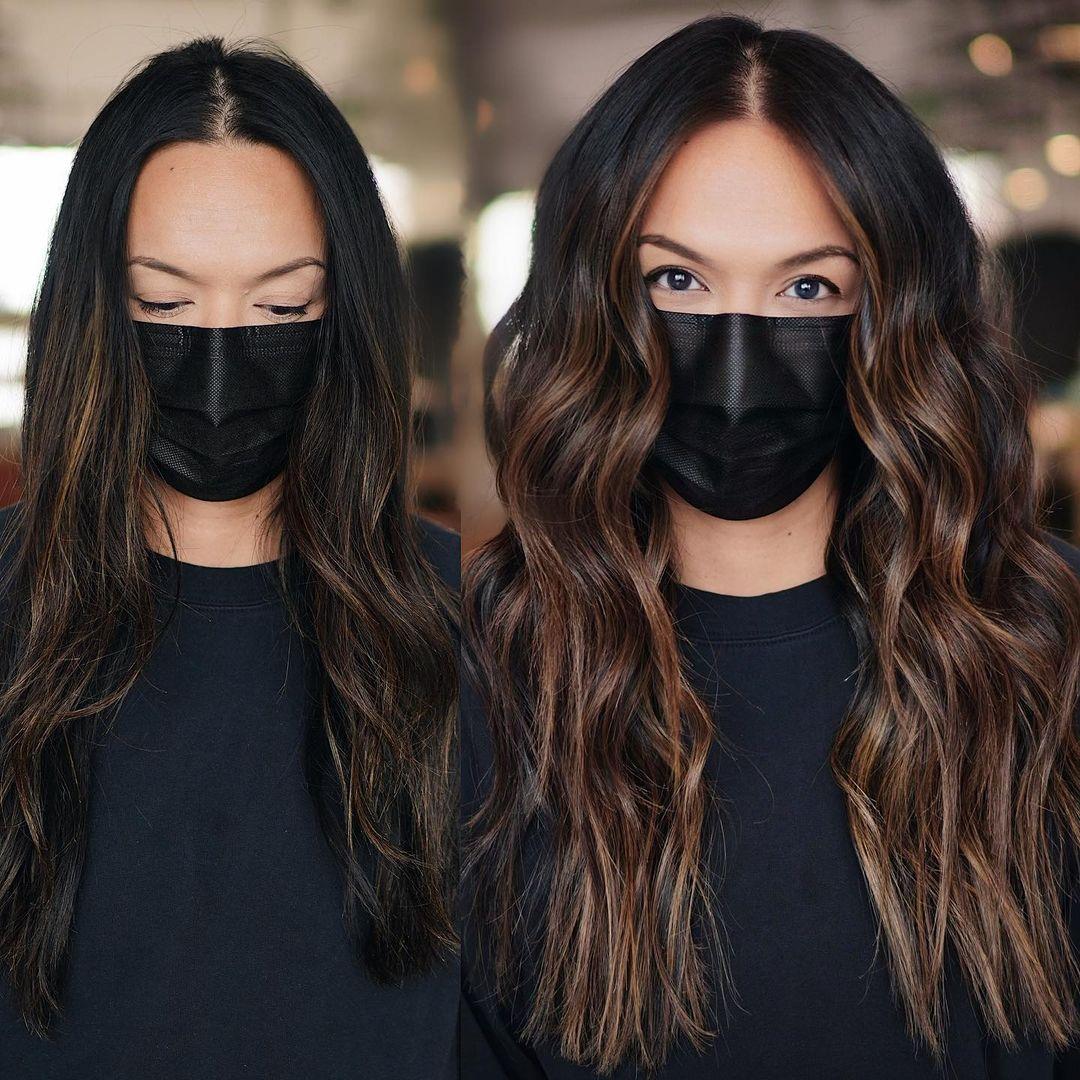 Subtle Face-Framing Streaks for Dark Hair