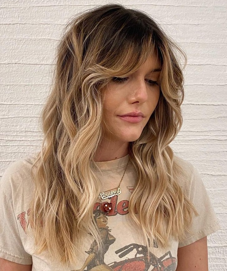 Long Layered Shag with Blonde Highlights