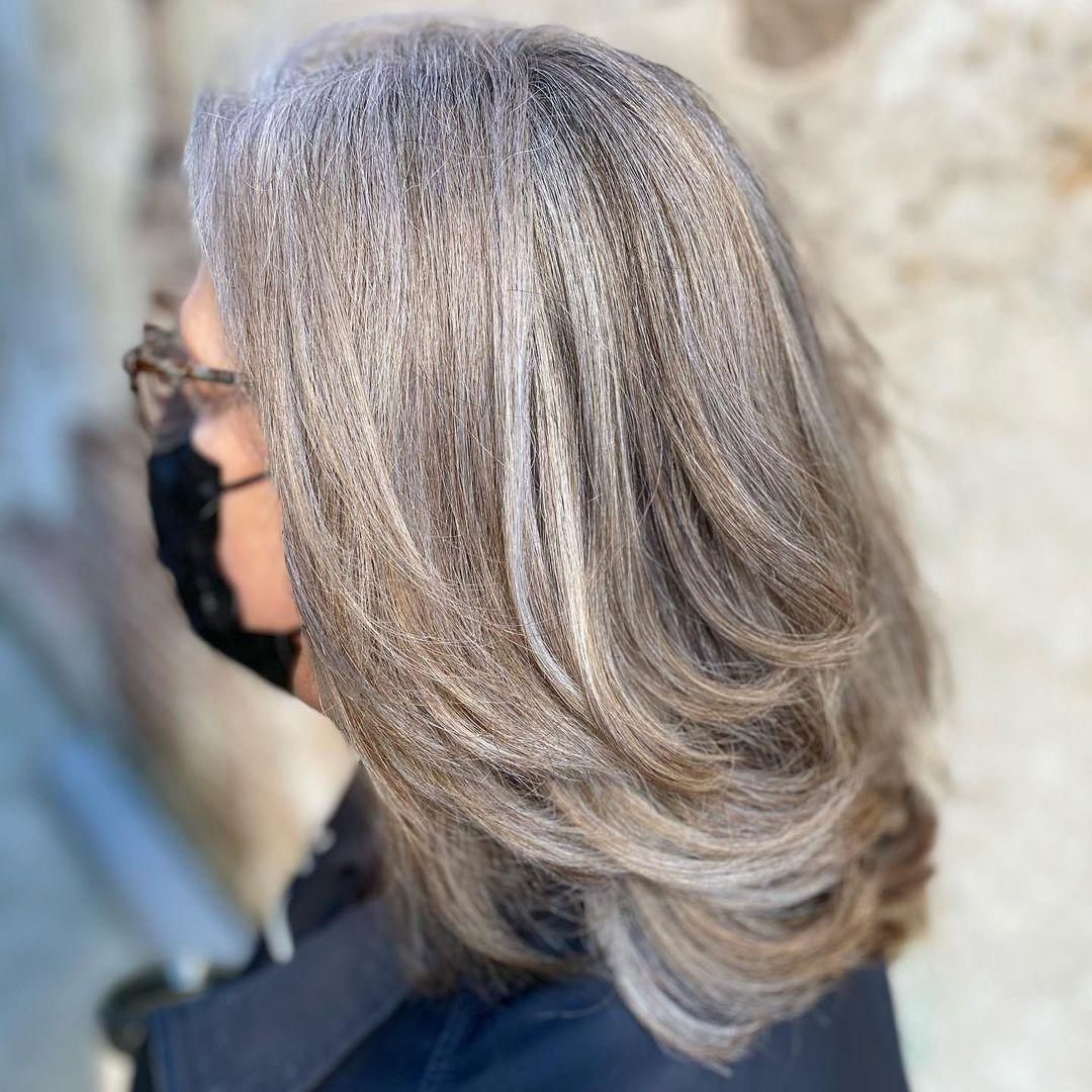 Elegant Medium Layered Cut for Gray Hair