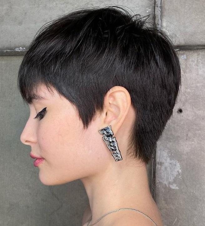 Sleek Black Pixie Cut