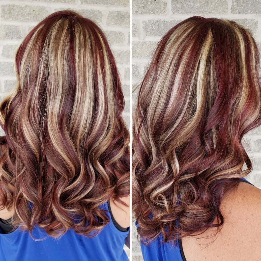 Blonde Hair with Burgundy Lowlights