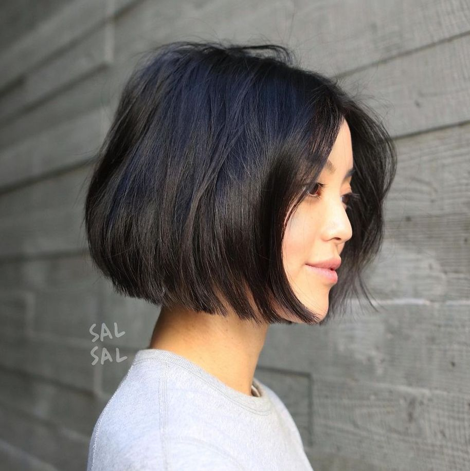 Jaw-Length Blunt Bob with a Middle Part
