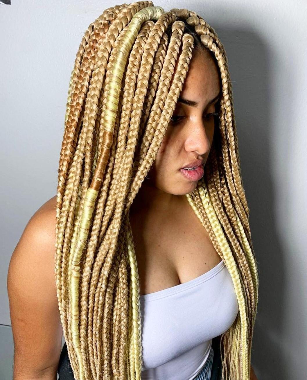 Waist-Length Box Braids in Honey Blonde