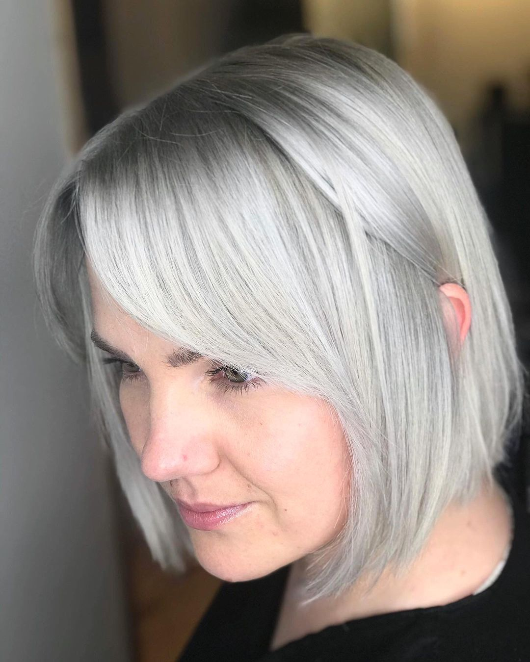Sleek Silver White Bob Hairstyle