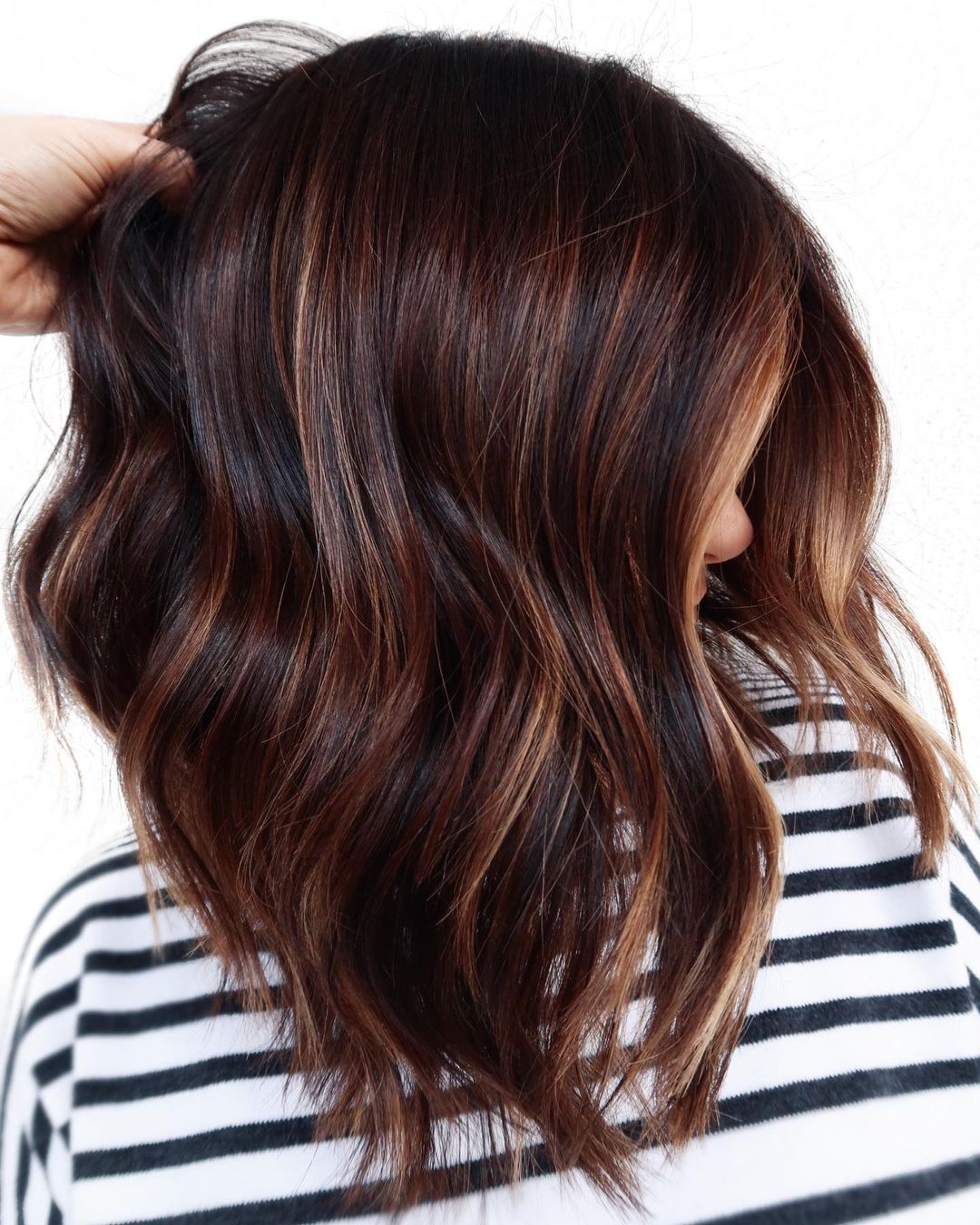 Inverted Chocolate Lob with Highlights