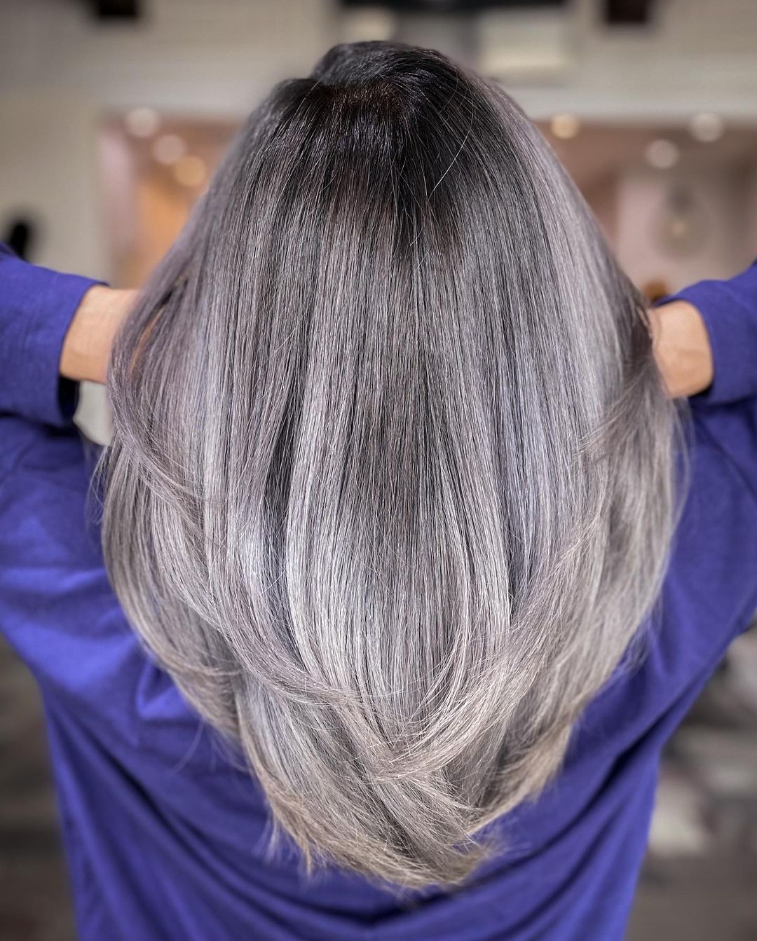 Long Salt-and-Pepper Hair with Layers