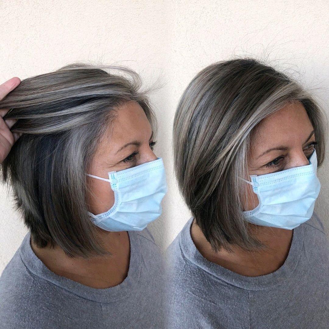 Black and Gray Bob Hair Style