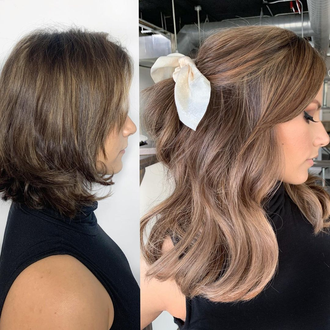 Hairstyles for Short Hair and Extensions Before After Pictures