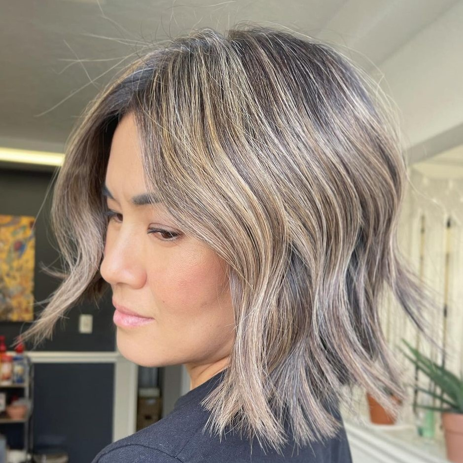 Brown Gray Hair with Blonde Highlights