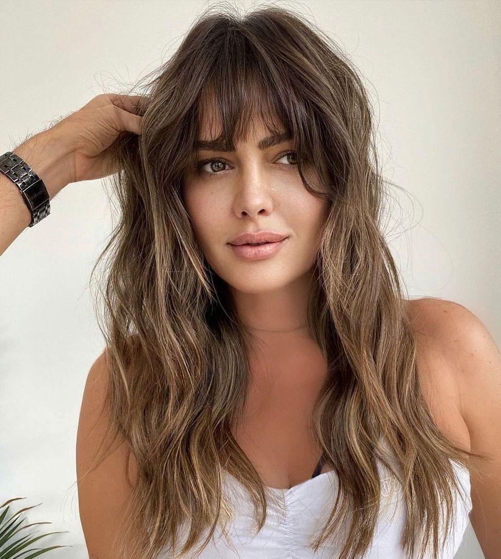 Long Messy Haircut with Wispy Bangs