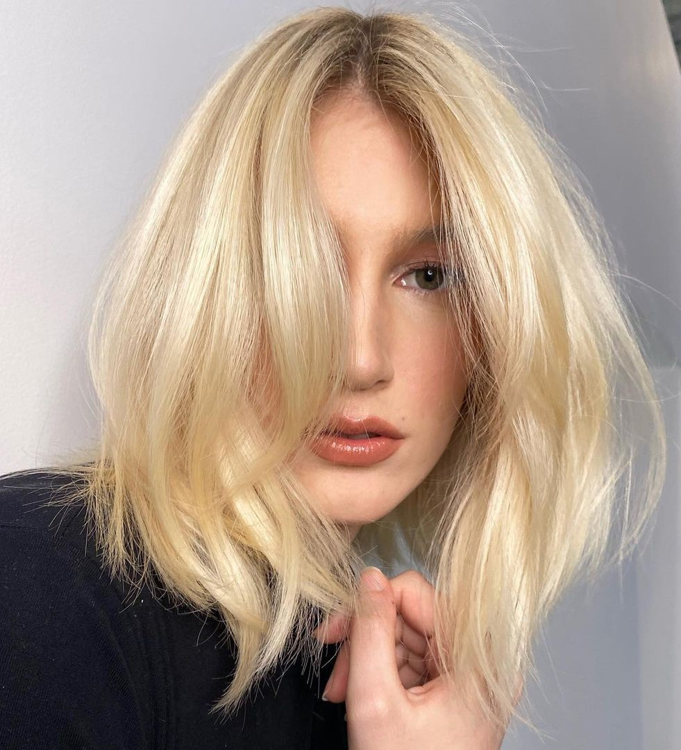 Voluminous Long Bob for a High Forehead and Skinny Faces