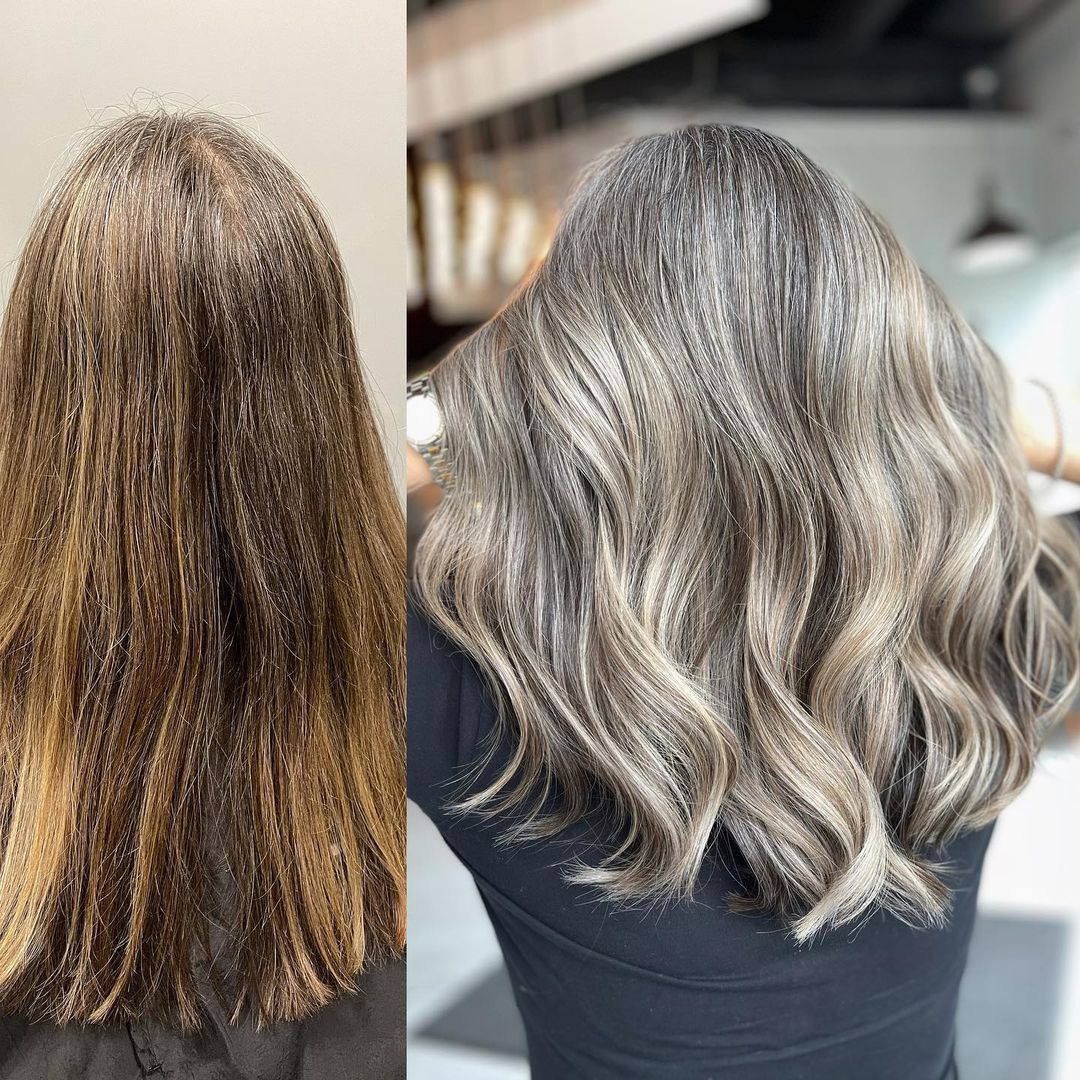 Gray Hair with Blonde Highlights