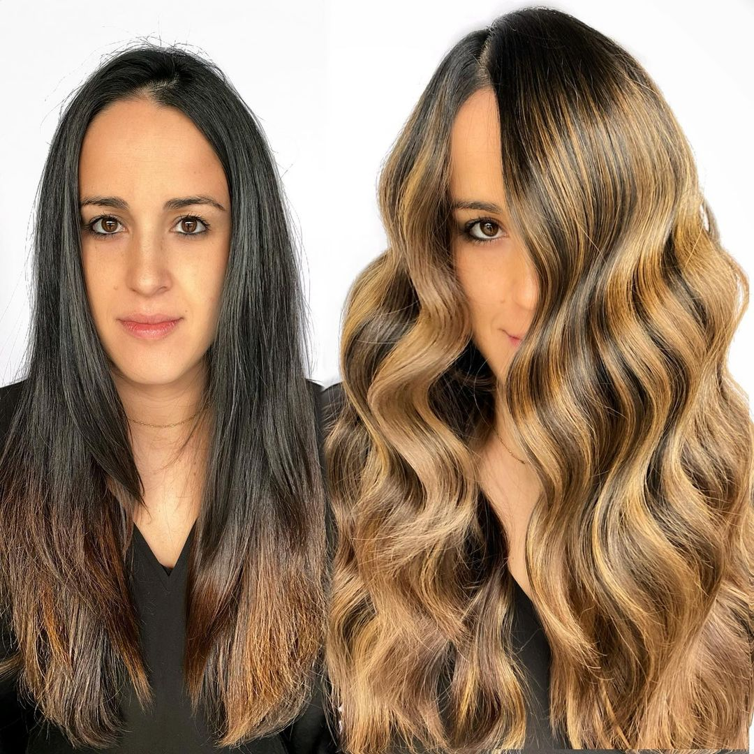 Long Hairdo with Waves and Highlights for a Narrow Face