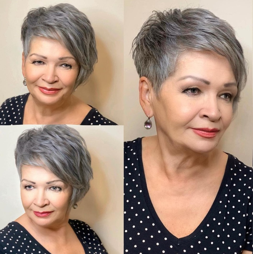 Short Gray Pixie for Older Women