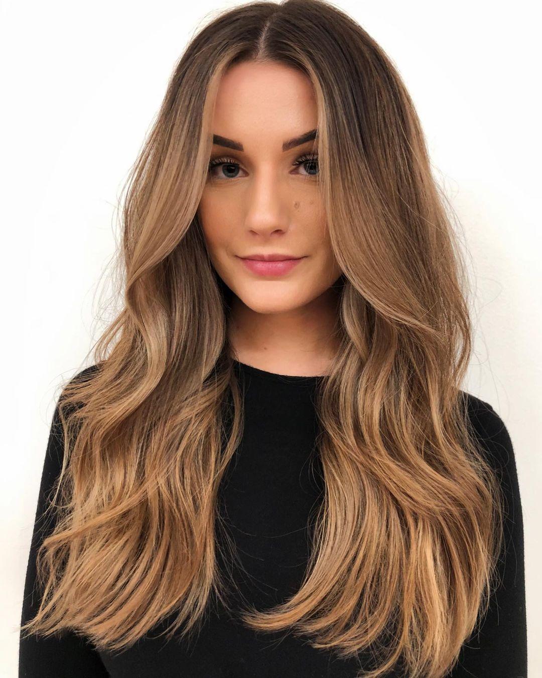 Nice Golden Brown Balayage for Long Hair