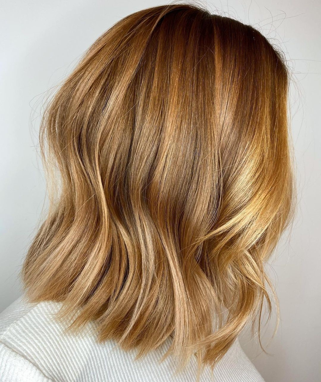 Shoulder-Length Light Golden Brown Cut