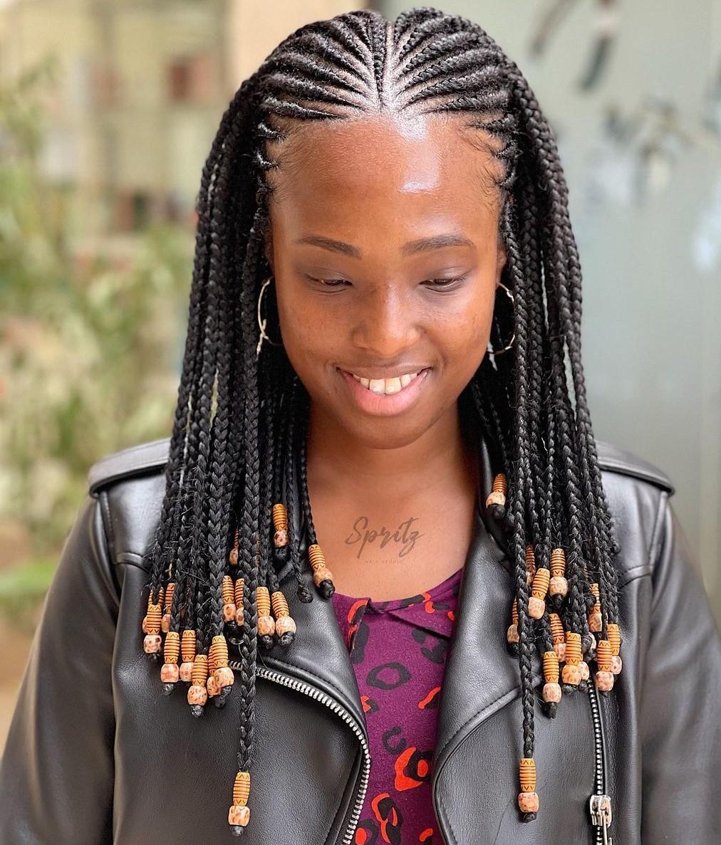 Symmetrical One-Length Fulani Braids