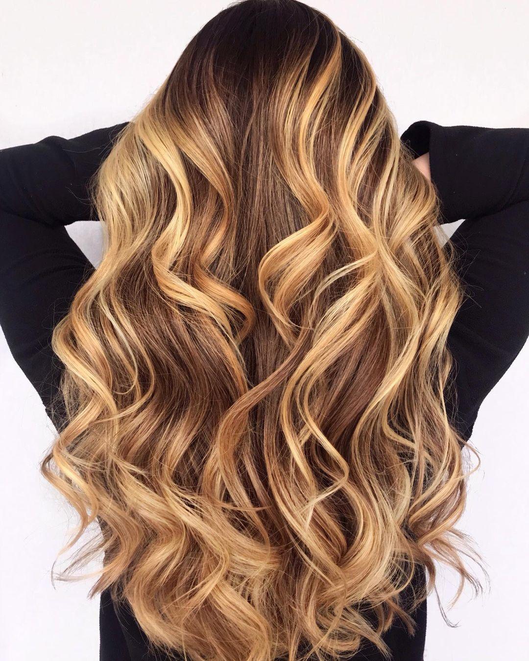 Long Layered Golden Bronde Balayage Hair