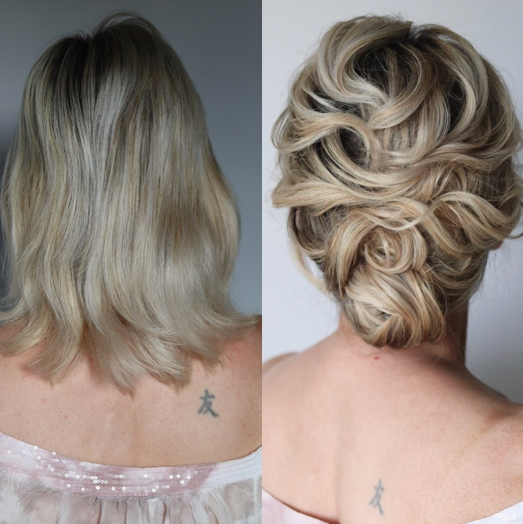 Fancy Updo for Short Curls for Brides and Bridesmaids