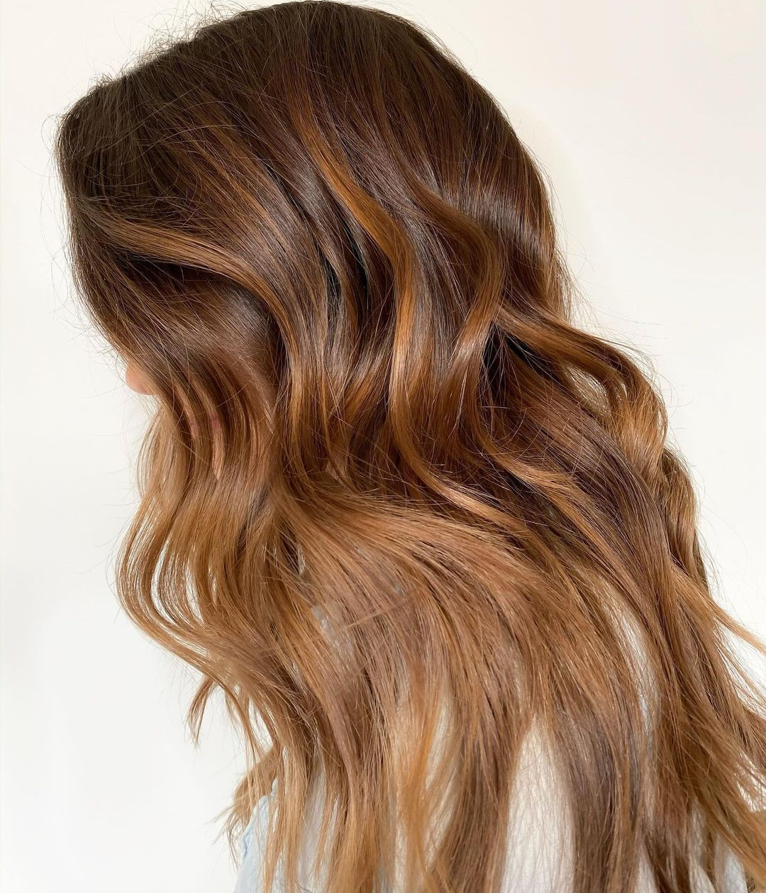 Layered Cut with Copper and Golden Balayage