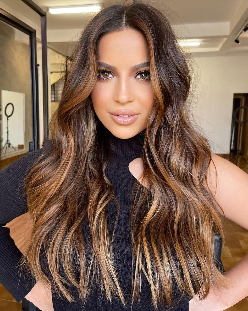 Brunette Hair with Bronze Balayage