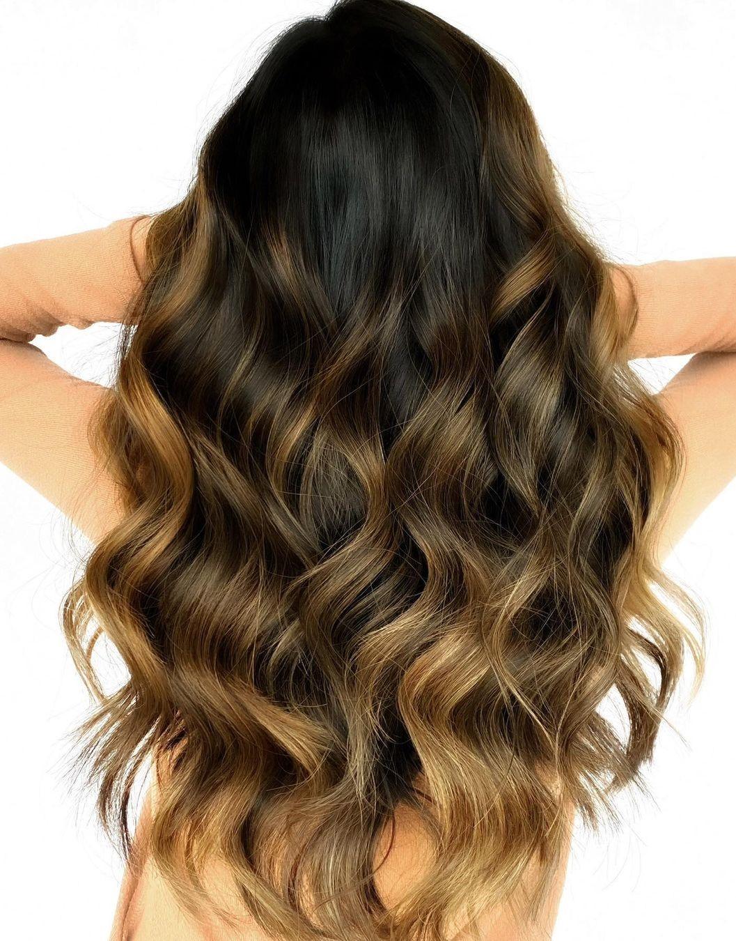 Dark Hair with Golden Blonde Highlights
