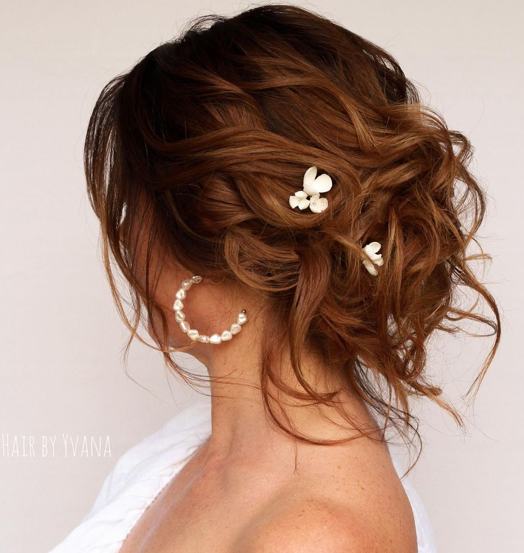Short Wedding Updo Style with Airy Waves