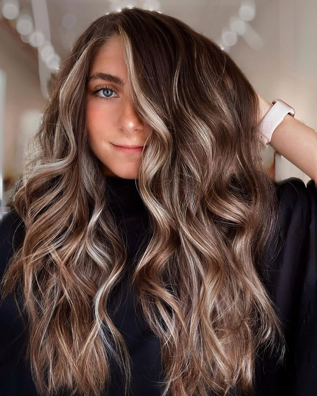 Dark Hair Color with Platinum Highlights