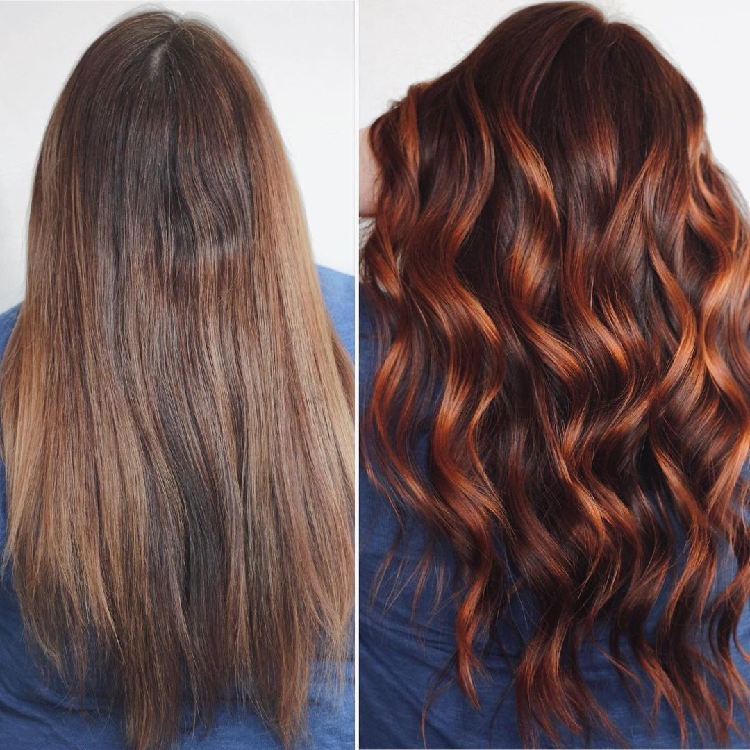 Red Balayage on Brunette Hair