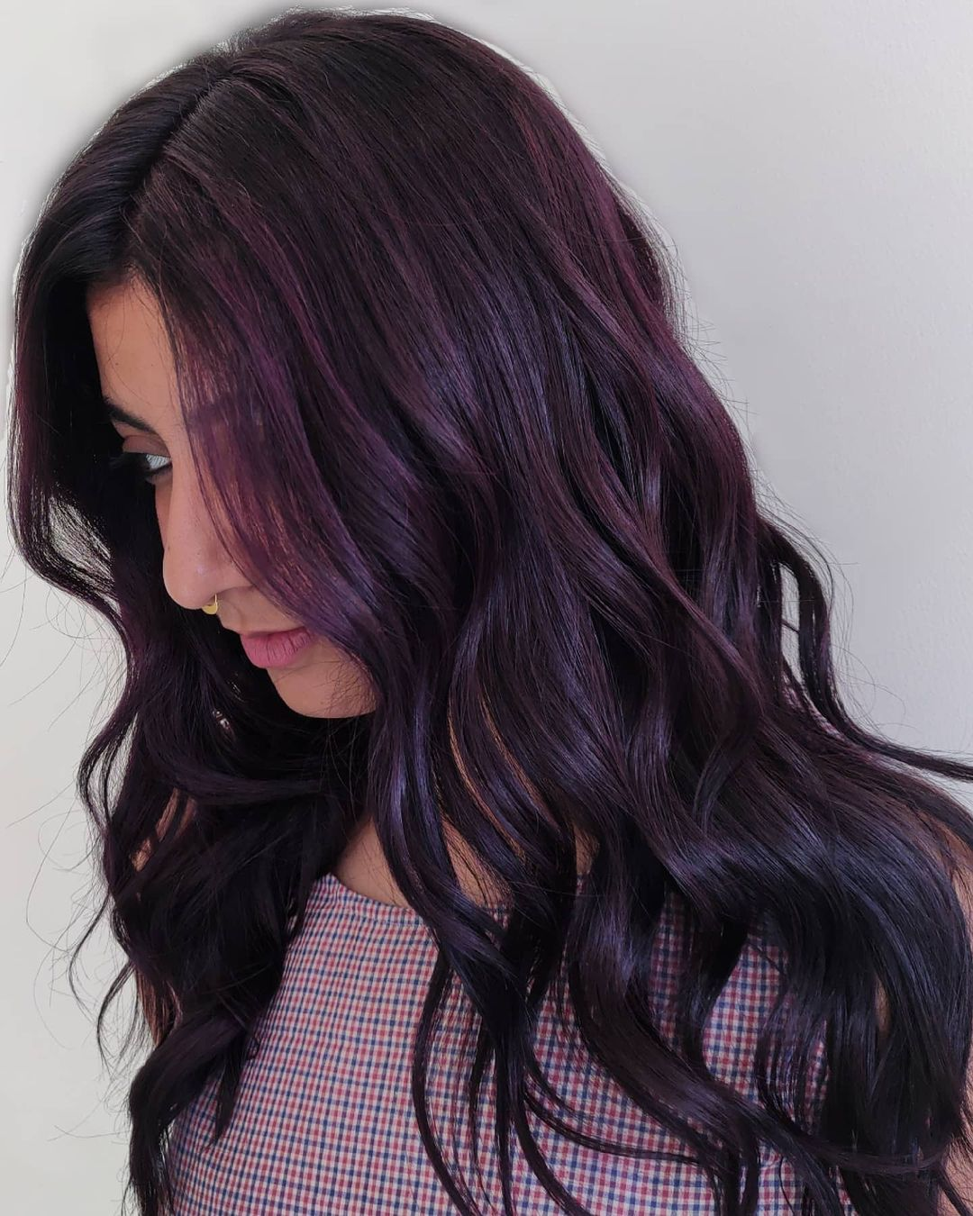 Modern Shiny Plum Black Hair