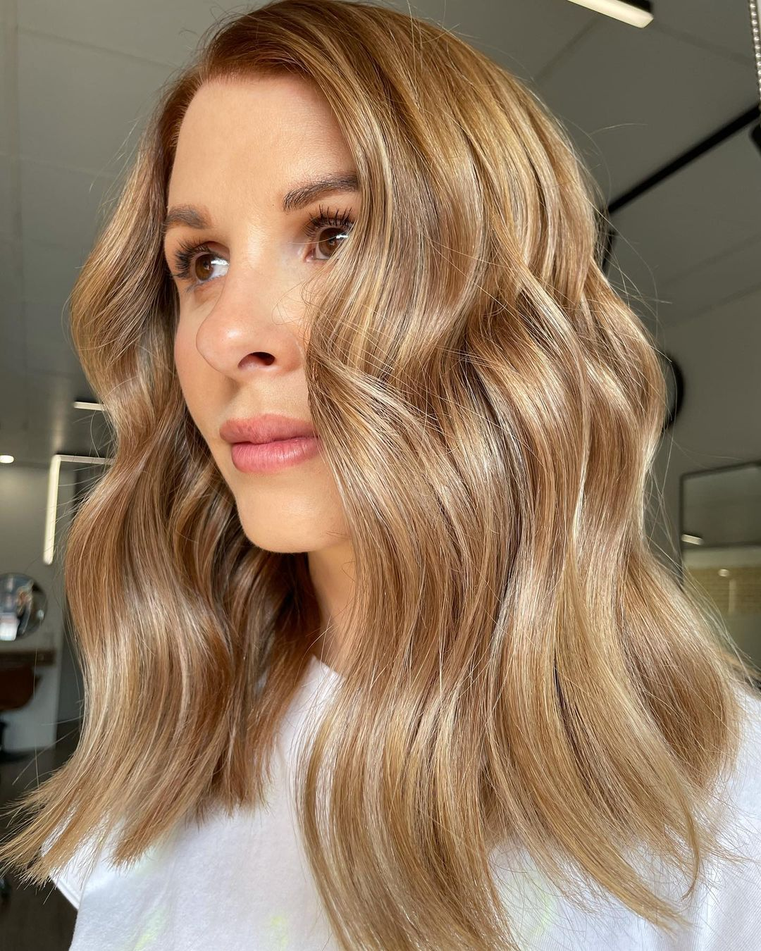 Caramel Hair with Golden Blonde Highlights