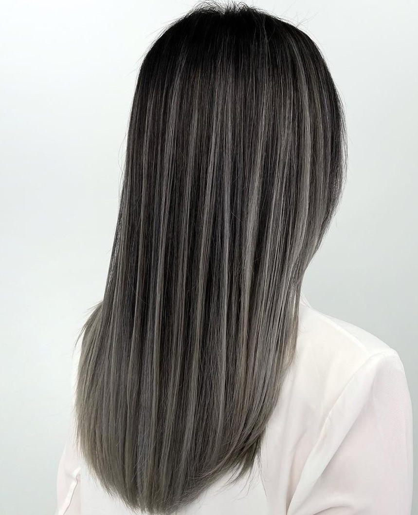 Straight Black Hair with Partial Highlights