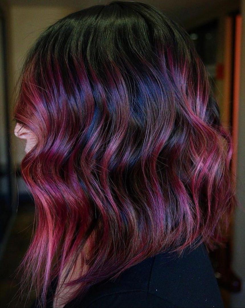 Black Hair with Plum Highlights