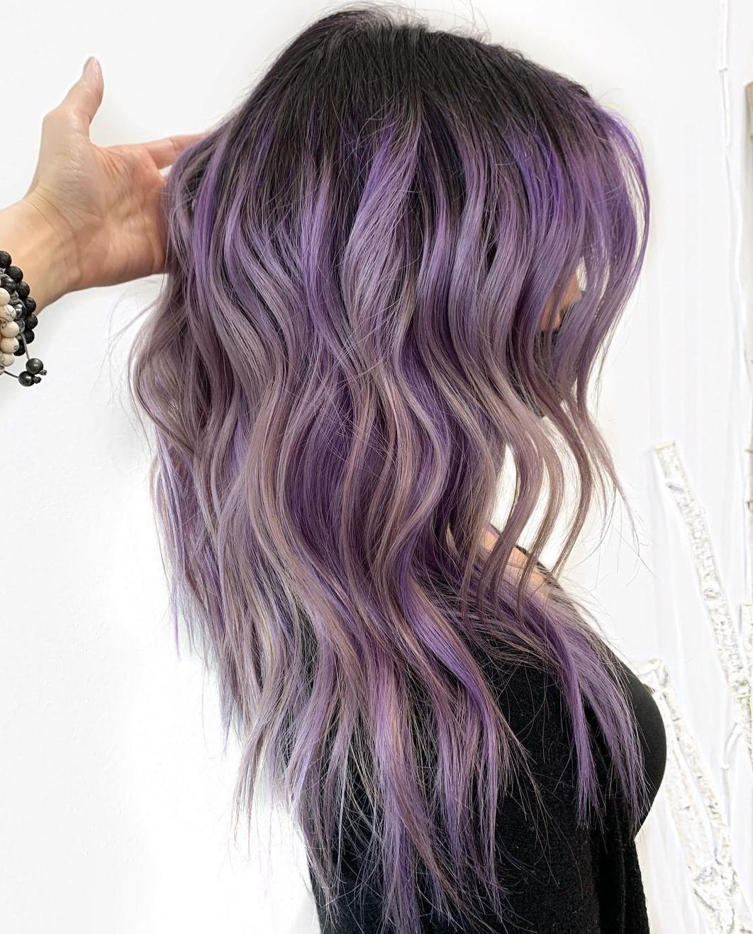Purple Highlights and Dark Shadow Root