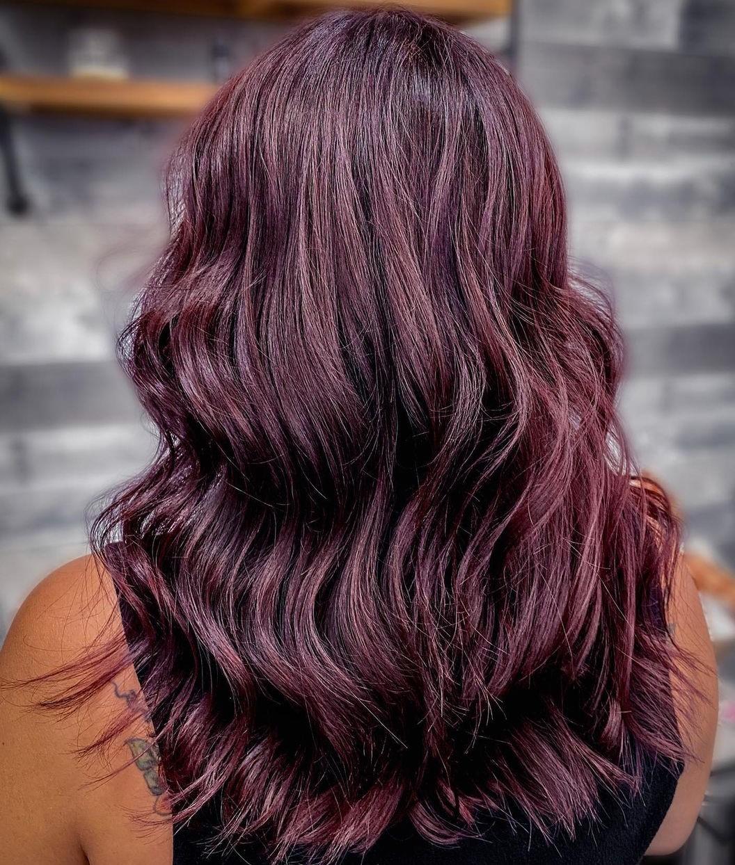 Radiant Plum Burgundy Hair