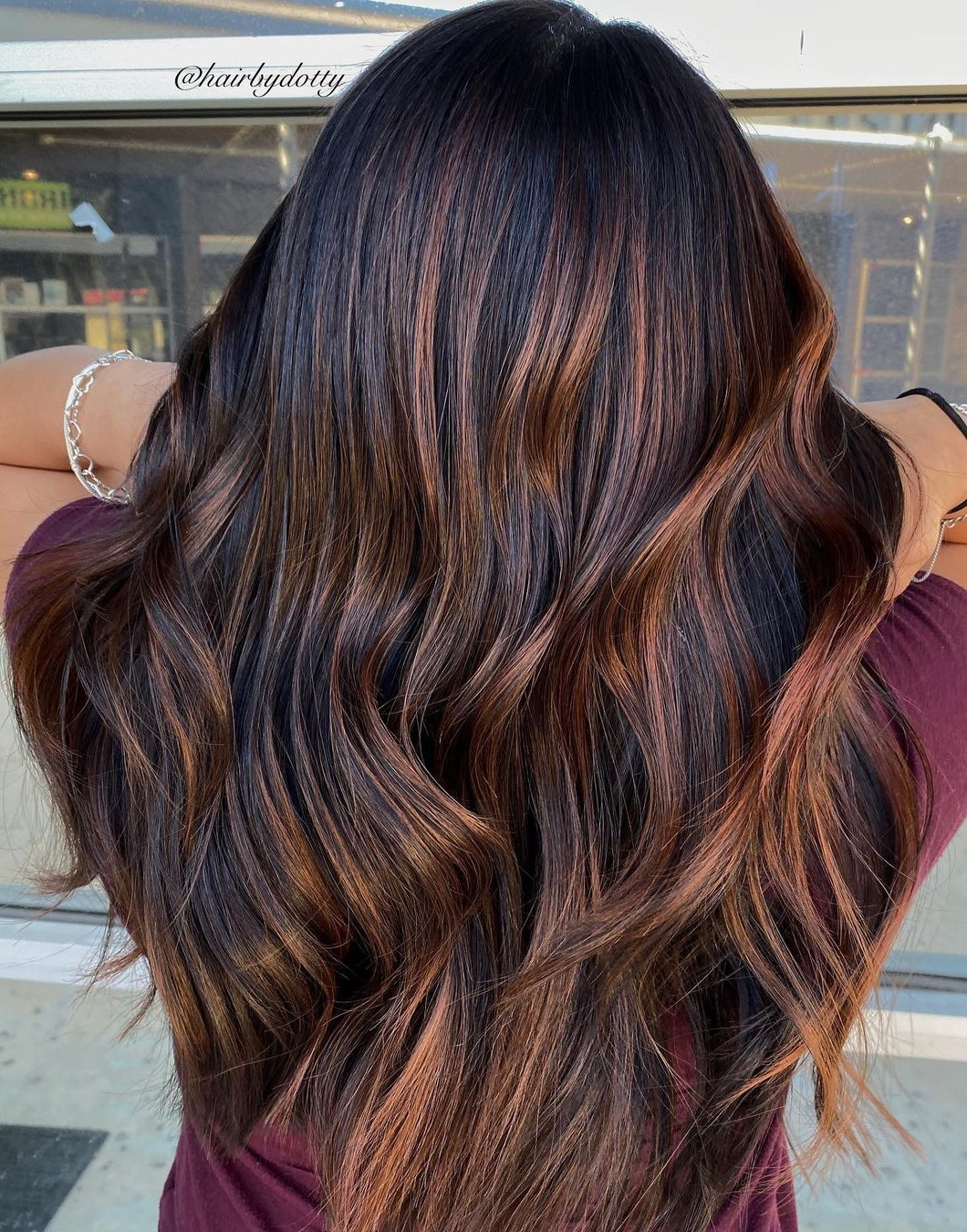 Long Brunette Balayage with Copper Highlights