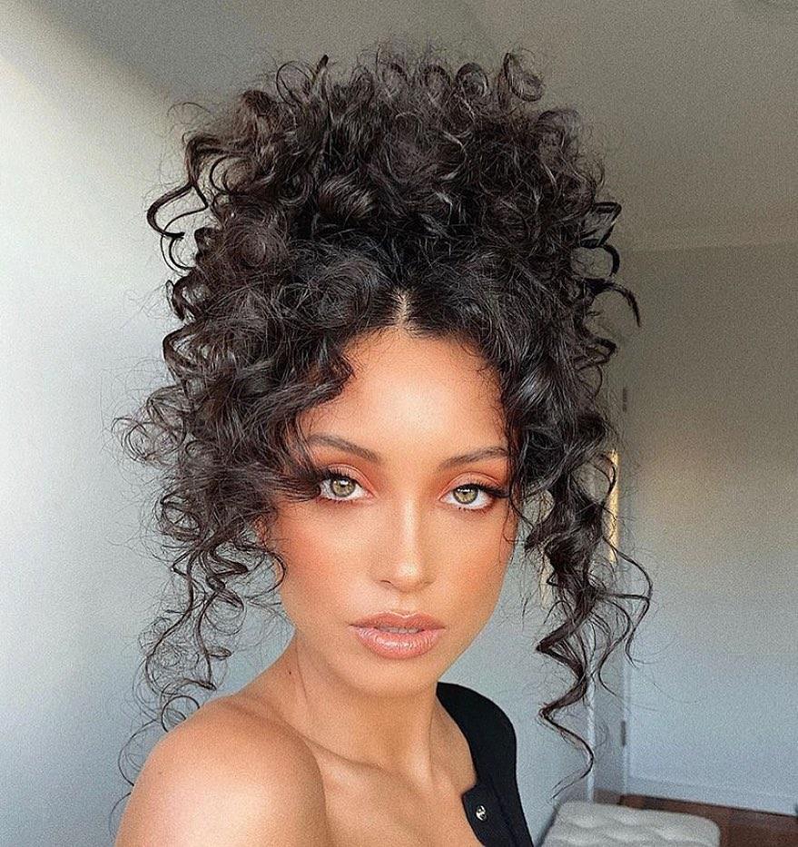 High Bun for Curly Hair