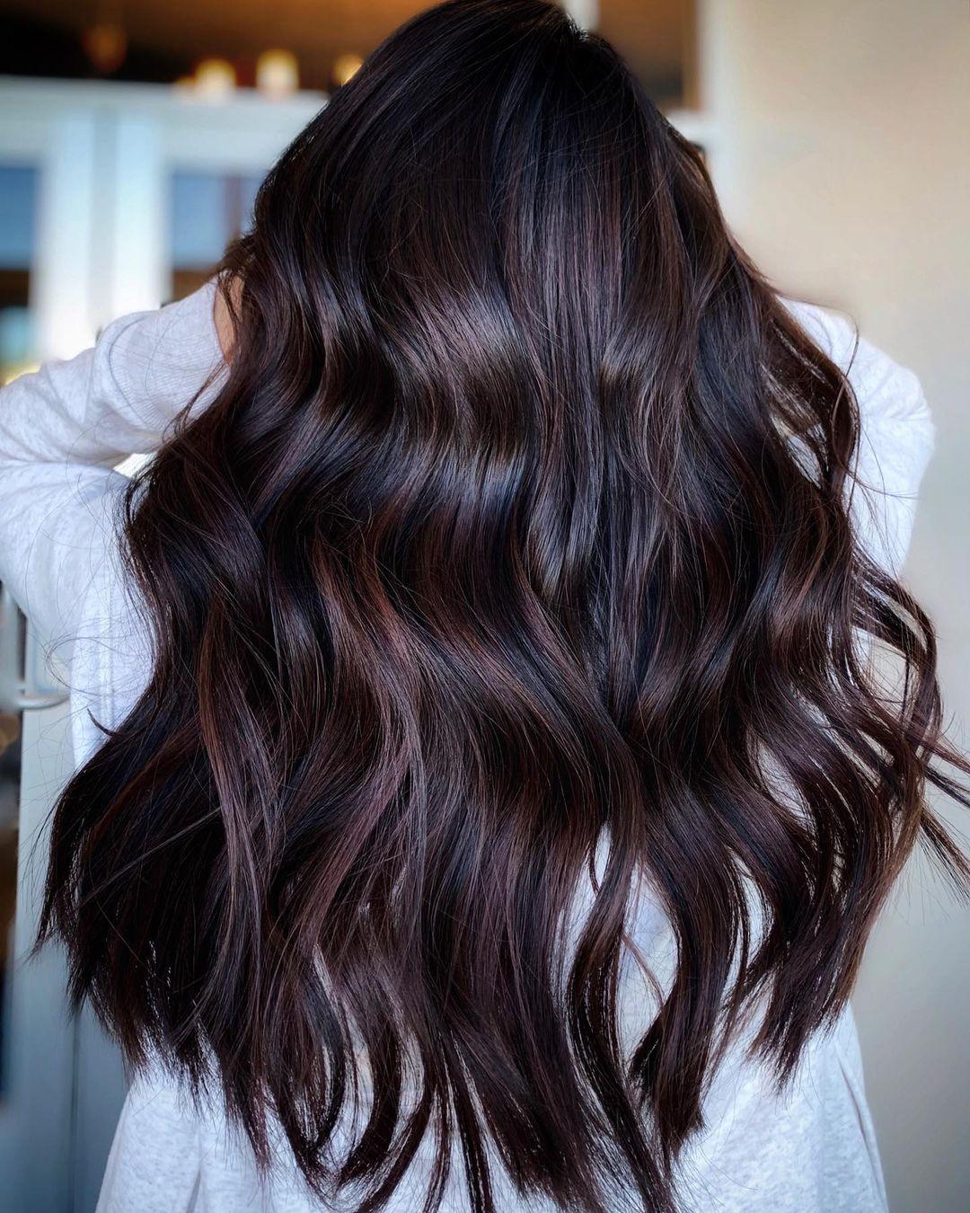Dark Black Cherry Balayage Hair