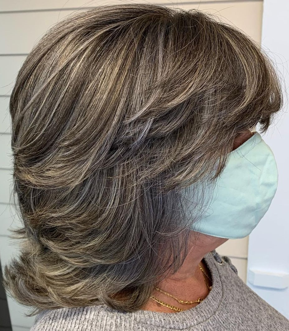 Over 50 Medium Slimming Feathered Hairstyle