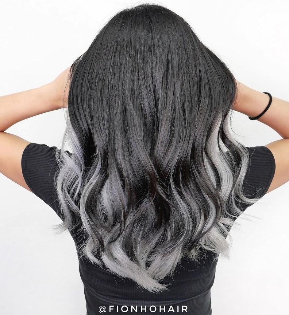 Gray Peek-a-Boo Highlights for Dark Hair