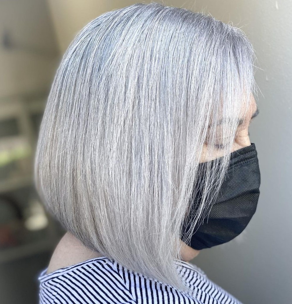 Gray A-Line Bob for a 50-Year-Old Woman