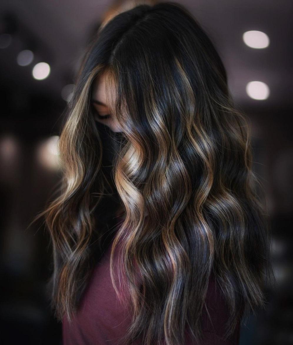 Dark Hair with Blonde Face-Framing