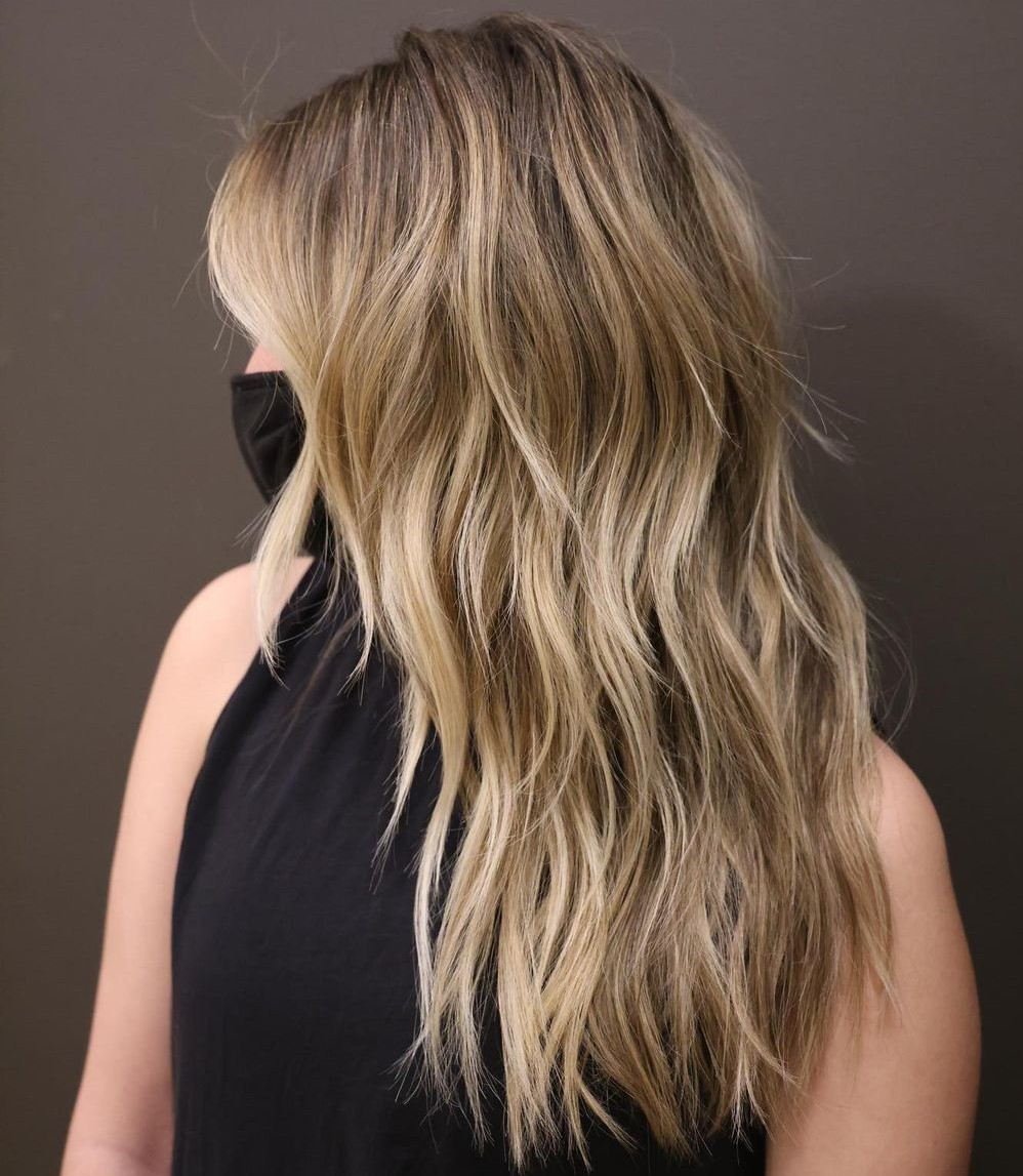 Long Beige Blonde Shag with Highlights