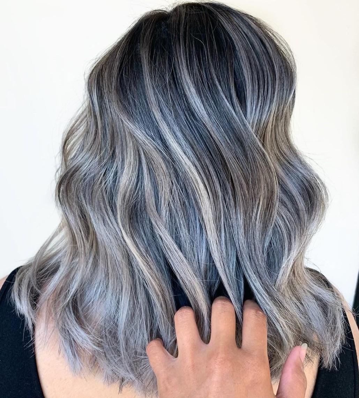 Ash Gray Balayage for Dark Hair