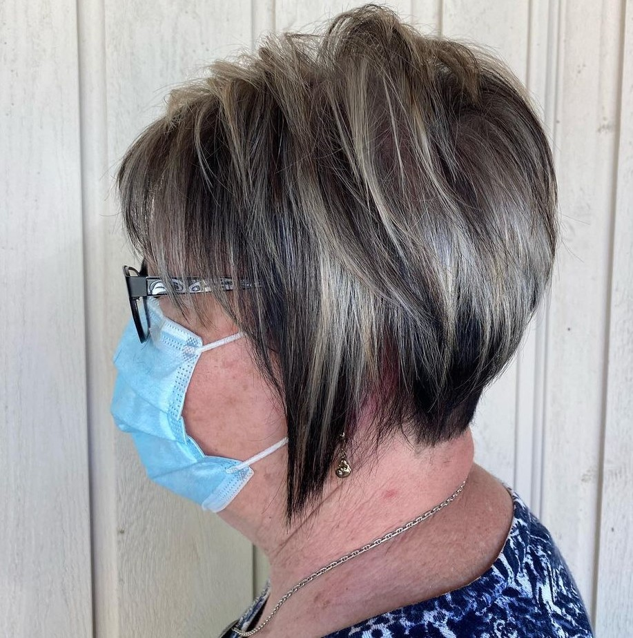 Feathered Pixie Cut for Older Women with Glasses