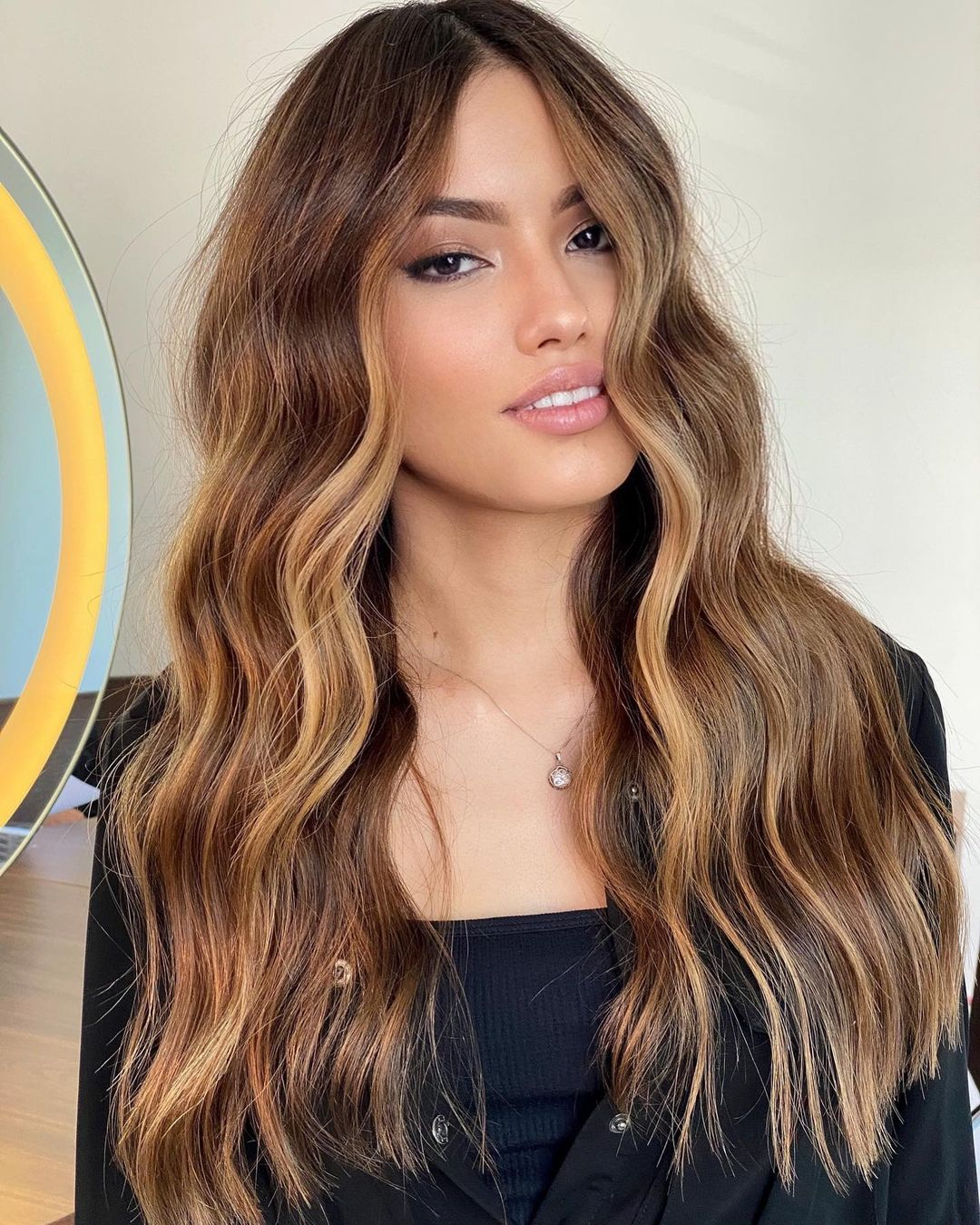 Warm Brown with Caramel Blonde Front Highlights