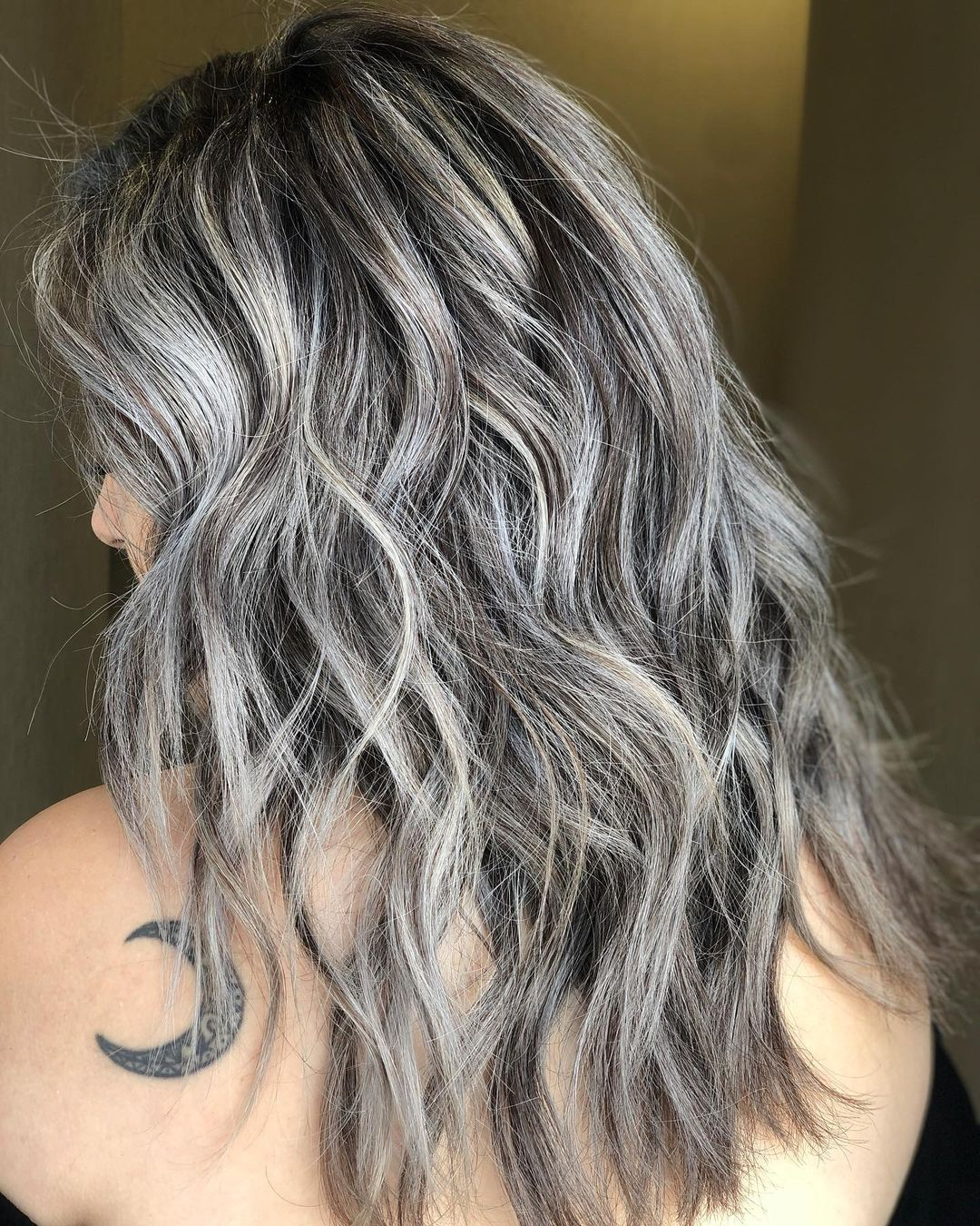Chocolate Hair with Gray Highlights