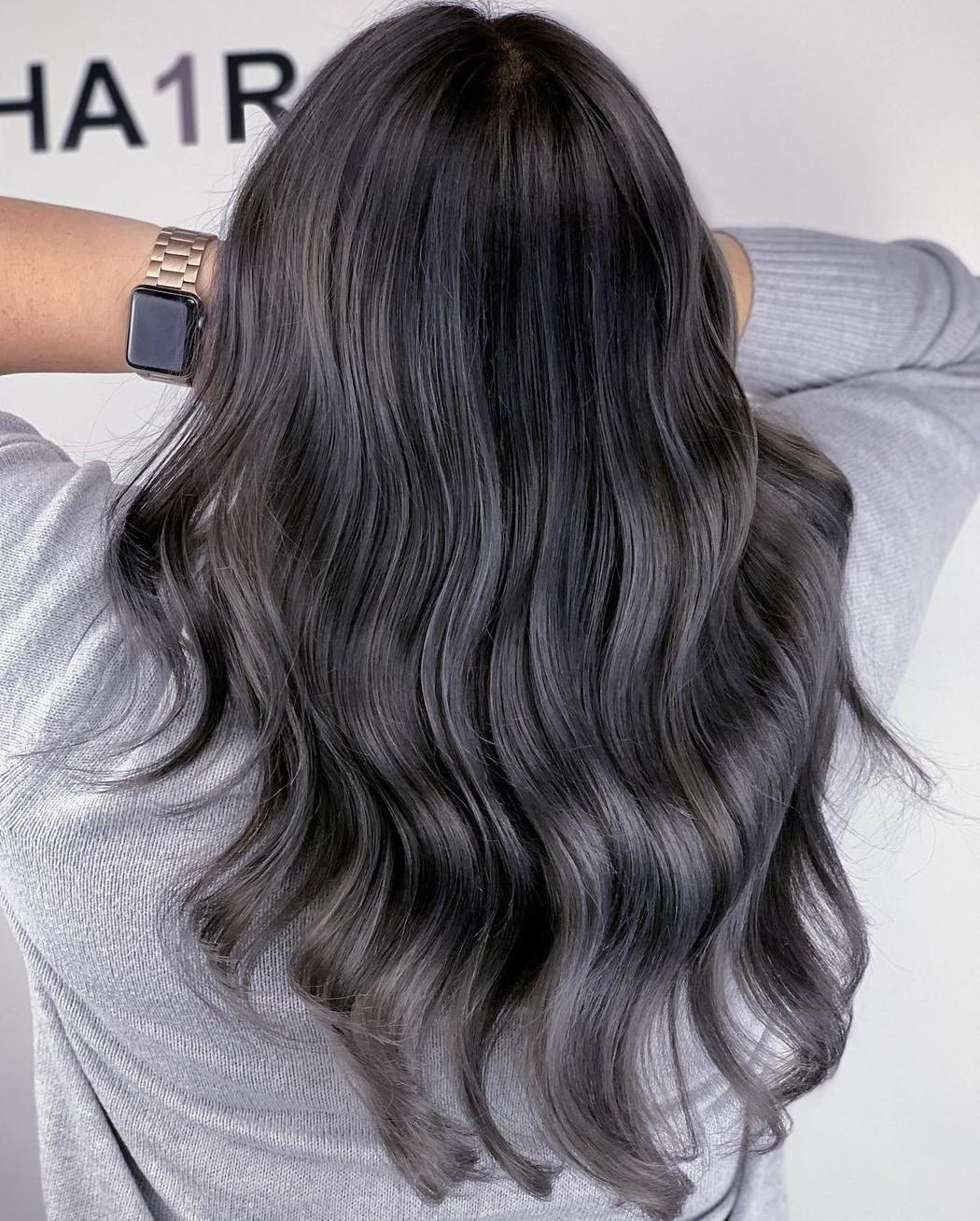 Subtle Gray Highlights for Black Hair