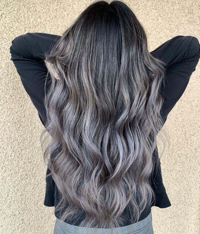 Black Hair with Gray Balayage