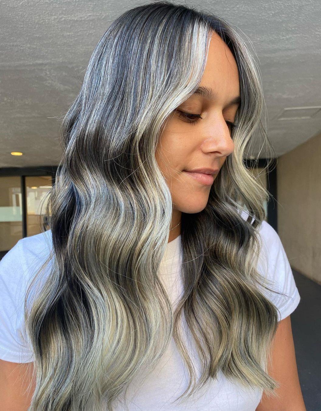 White Highlights on Dark Hair